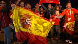 Spain fans celebrate topping their group after Morocco 2-2 draw