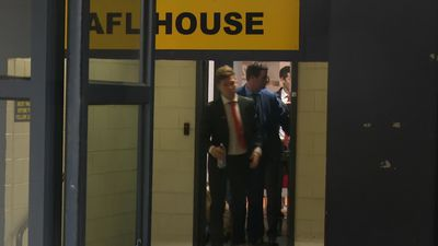 Back again - Toby Greene arrives at the AFL tribunal to appeal his 1 match ban