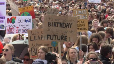 RAW: Demonstrators for action on climate change in Sydney's Domain