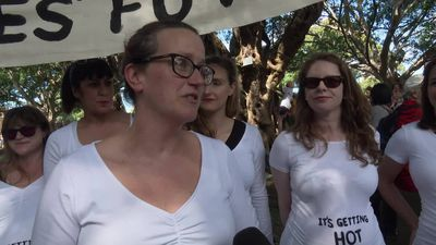 RAW: Group of expectant mothers calls on action on climate change for future generations