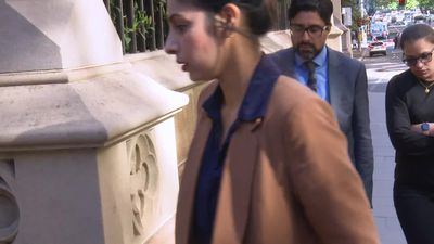 RAW: Sydney man arrives at court in wife's fire murder trial.