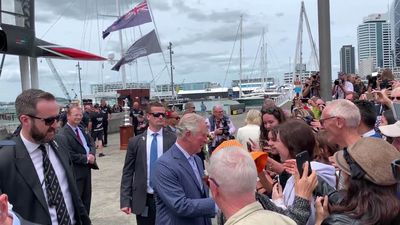 RAW: Prince Charles and Camilla stroll around Auckland's Viaduct Harbour