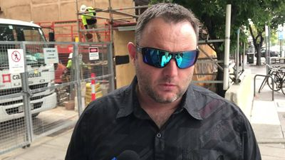 Marcus Rayner speaks outside court after SA drug-driving mum jailed over son's death