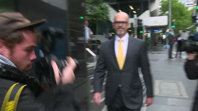 Former Victoria Police commissioner Simon Overland arrives at Lawyer X Royal Commission