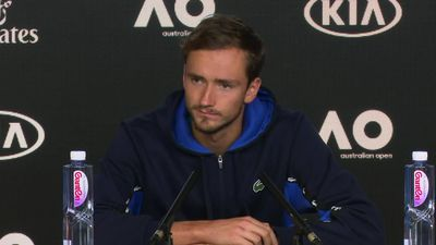 Daniil Medvedev speaks to the media about his straight sets win against Alexei Popyrin