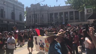 Invasion day protests at Parliament House Melbourne