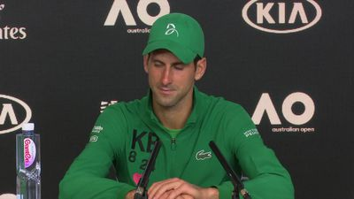 Novak Djokovic press conference after winning through to the semi finals of the Aus Open