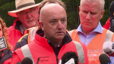 V/Line CEO James Pinder press conference at the site of the Wallan train derailment