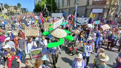 Climate protesters shut down the CBD of Melbourne - demanding the government take action