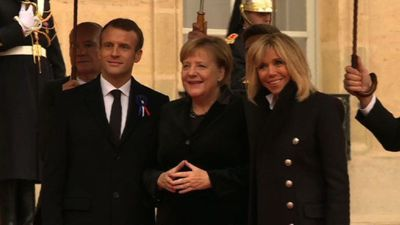 French President welcomes heads of state at Elysee Palace