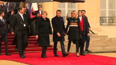 World leaders leave Elysee Palace for WW1 commemoration
