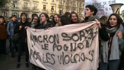 High school and university students protest in Paris