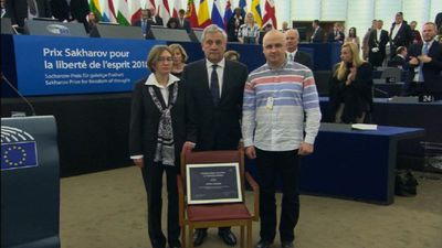 Ukrainian film director Sentsov receives the Sakharov Prize