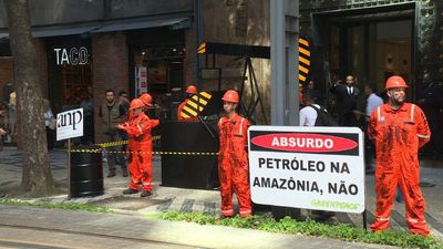 Greenpeace protest to stop oil and gas exploration in Amazonia