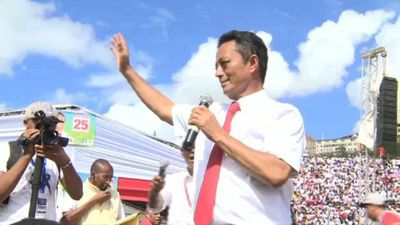 Madagascar's presidential hopeful Ravalomanana holds a rally