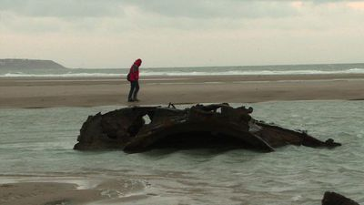 WWI submarine emerges from the sand in northern France