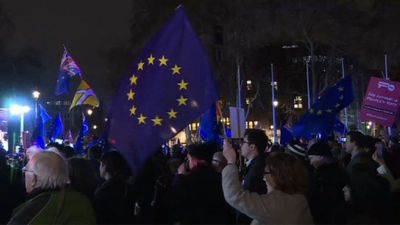 Crowds gather outside parliament for vote on Brexit deal