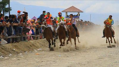 Teens jockey in Indonesia's traditional horse racing