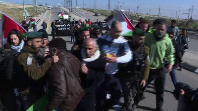 Palestinian, Israeli activists protest against Israeli-only road