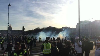 Police fire tear gas on 'yellow vest' protesters in Paris