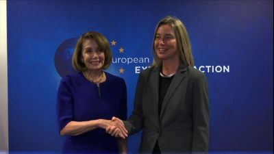 Nancy Pelosi meets with EU foreign policy chief Mogherini