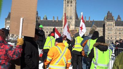 """""""Yellow vest"""" activists rally in pro-pipeline protest in Canada"""
