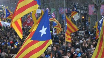 Demonstration in Barcelona in support of jailed Catalan leaders