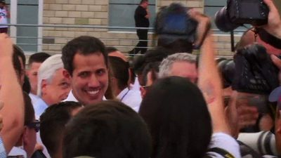 Venezuela's Guaido arrives to Colombian aid concert