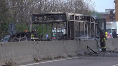 Man hijacks school bus and sets it ablaze in Milan