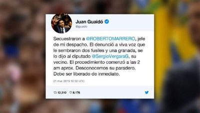 Venezuela Guaido denounces arrest of his chief of staff (tweet)