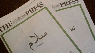 Newspaper front page marking one week since mosque attacks