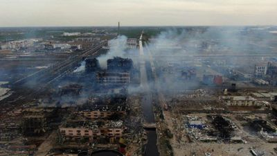 Aerial images after huge blast at China chemical plant