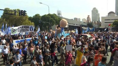 Thousands of anti-abortion protesters march in Buenos Aires