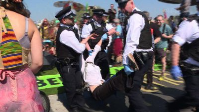 London police arrest climate protesters blocking Waterloo Bridge