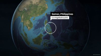 Animated map shows epicentre of Philippines 6.4 quake
