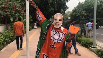 BJP supporters celebrate as India's Modi heads for re-election