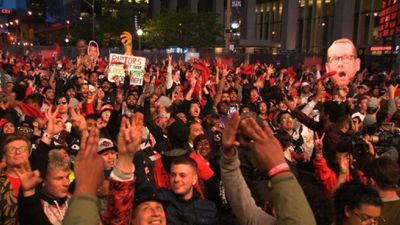 Toronto filled with cheers as fans watch Raptors' NBA win