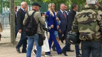 Laeticia Hallyday attends a tribute to Johnny Hallyday in France