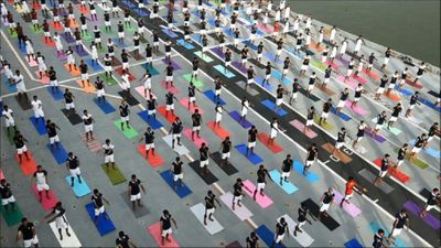 Indian Armed Forces mark World Yoga Day on aircraft carrier