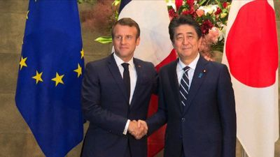 Japan's Abe welcomes France's Macron in Tokyo ahead of G20