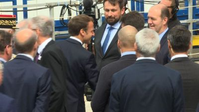 Macron arrives to unveil new Suffren nuclear submarine