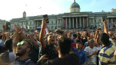 England fans celebrate World Cup in Trafalgar Square