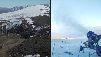 Chilean ski resorts use artificial snow to combat the dry winter