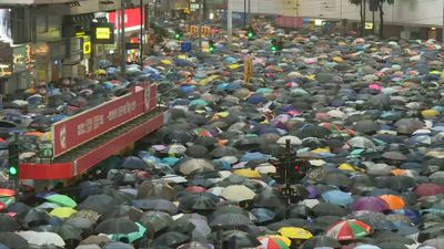 Sea of umbrella shows perseverance of Hong Kong protesters
