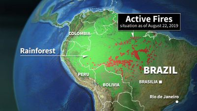Fires in the Amazon rainforest in Brazil