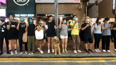 Hong Kong pro-democracy protesters form human chain