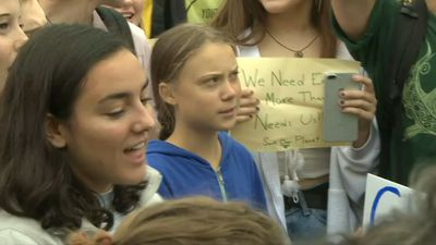 Greta Thunberg joins students in DC for climate protest