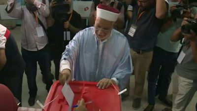 Tunisian presidential candidate Abdelfattah Mourou casts his vote