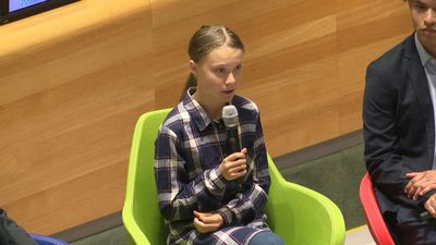 Greta Thunberg arrives at UN Youth Climate Summit