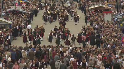 Bavarians parade in their beautiful costumes for Oktoberfest
